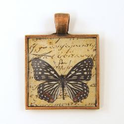 Butterfly Pendant - Black White Tan Copper Square Resin Pendant