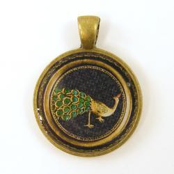 Jewel Pendant - Vintage Peacock Brooch