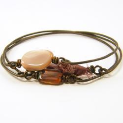 Stackable Bangle Bracelets - Pink Mauve Brown